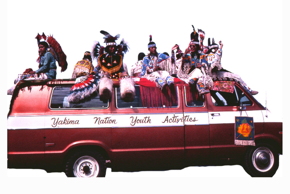Wendy Red Star, Yakima Nation Youth Activities, 2014, slide of Crow Fair parade at Crow Agency in the 1970s, archival pigment print.