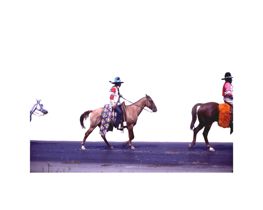 Wendy Red Star,  Rez Hats , 2014, slide of Crow Fair parade at Crow Agency in the 1970s, archival pigment print.