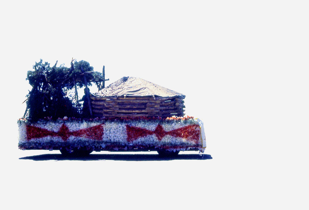 Wendy Red Star,  Round Hall Float , 2014, slide of Crow Fair parade at Crow Agency in the 1970s, archival pigment print.
