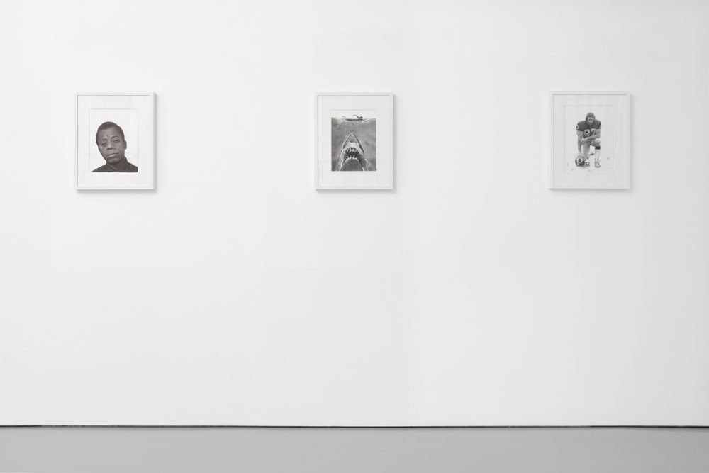 James Baldwin, Jaws,  and  Jerry Smith , 2017 Graphite on paper 8.5 x 11 inches each Installation view, Luce Gallery, Torino, Italy, 2017.  Image courtesy of Luce Gallery.