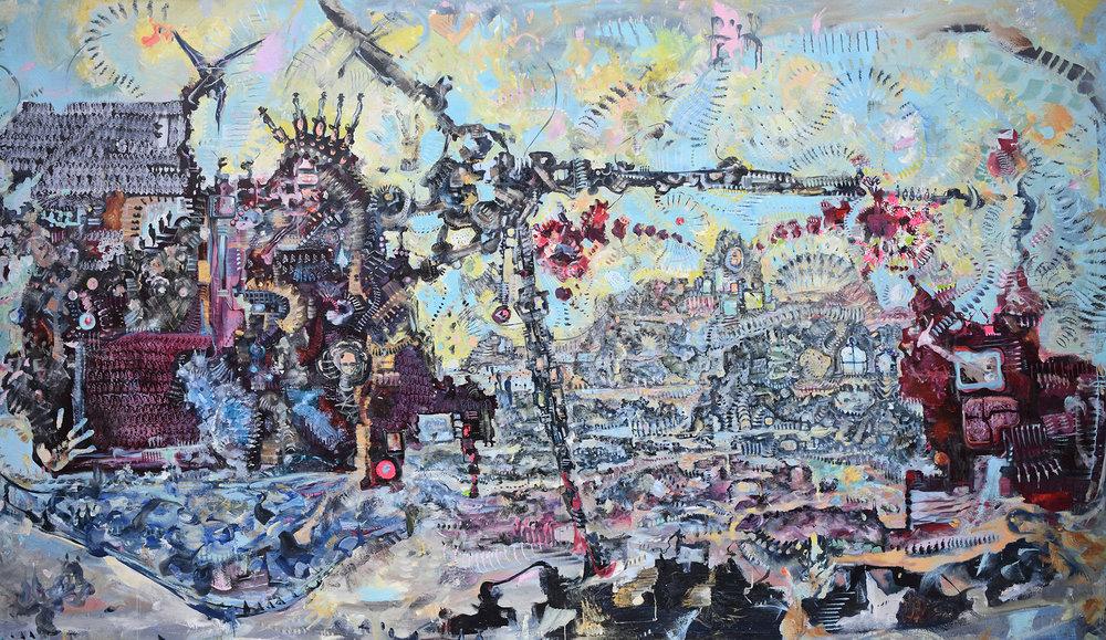 James Yakimicki,  Manhattan Projection (Prentis Hall),  2010. Oil on canvas, 144 x 86 inches.