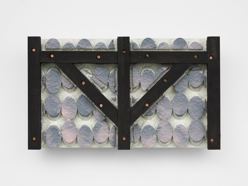 Stopping to start  2017 Wood, plaster, acrylic, copper screws on panel  14 x 24 inches