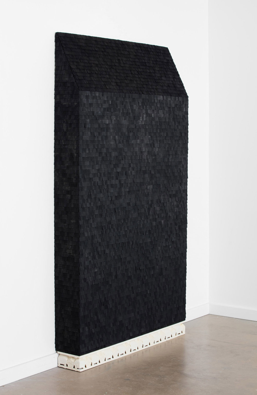Cal Siegel , coughin , 2016. Wood, dollhouse shingles, acrylic, plaster, 82 x 48.5 x 8 inches.