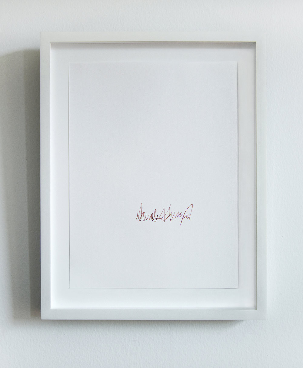 Donald J. Trump (2017-: Muslim Travel Ban, Border Wall, Family Separation, etc.)   From the series  Everybody knows that they are guilty:   2013 - ongoing Human blood on paper 8.5 x 11 inches