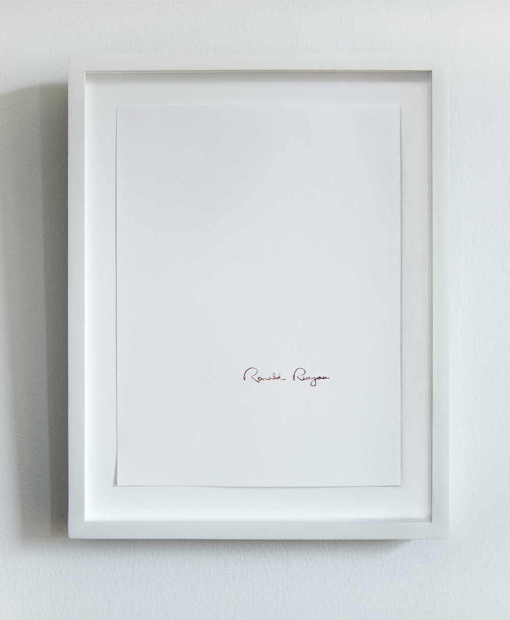 Ronald Reagan (1981-1989: AIDS, Culture Wars, Central America, etc.)   From the series  Everybody knows that they are guilty:  2013 - ongoing Human blood on paper 8.5 x 11 inches