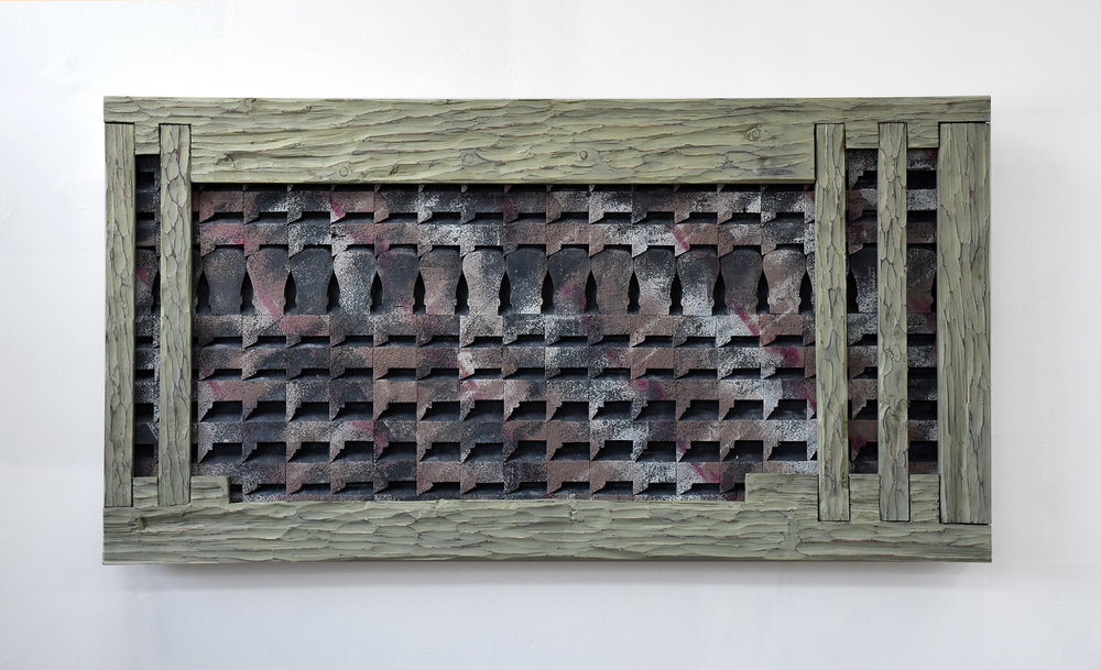 West Nowhere  2018 Wood, plaster, acrylic on panel 28 x 48 inches