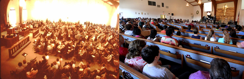 Left: Red Lion's sanctuary in 1986, Pastor Chuck F. Betters. Right: Red Lion's Sanctuary 2014, Campus Pastor DaQuan Gibson.