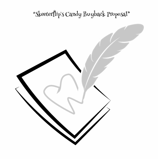 Free download of Inspector Skeeterflip's proposal to buy back extra Halloween candy and melt it down into a super sticky, super special glue for the tooth fairies. www.lettersfromatoothfairy.com