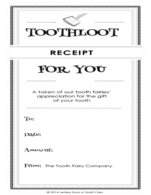Free printable tooth fairy tooth receipt from the Tooth Fairy Company. |  lettersfromatoothfairy.com