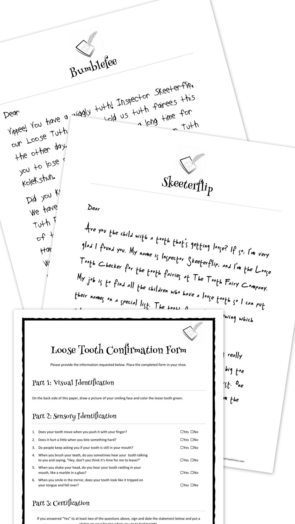 Loose Tooth Letter Bundle Letters From A Tooth Fairy