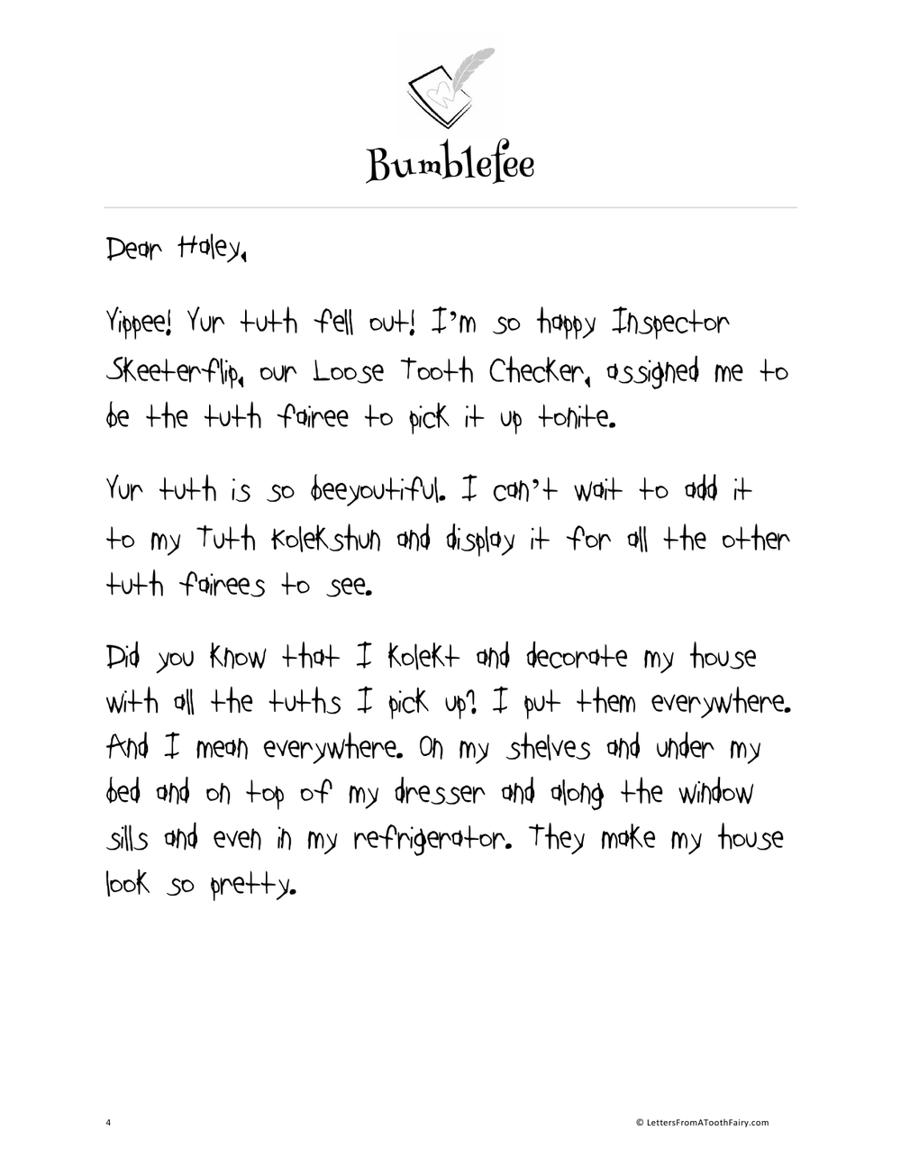 Bumblefee spends the toothloot b1 letters from a tooth for Free printable tooth fairy letter template