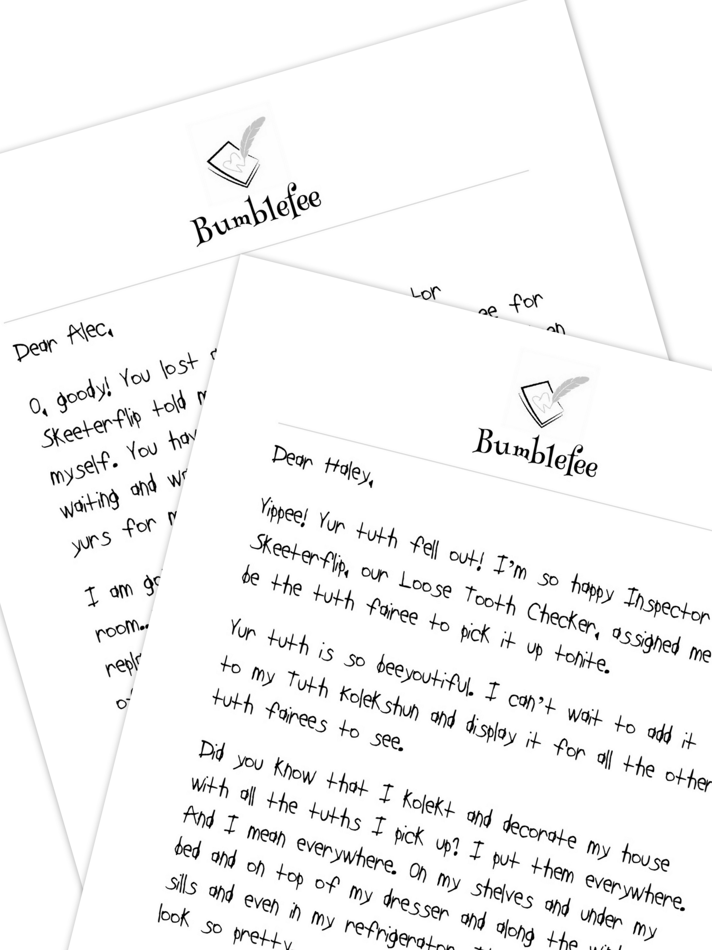 graphic regarding Tooth Fairy Printable Letter identify Bumblefee Letter Offer (2 Tooth Losses) Letters against a Teeth Fairy