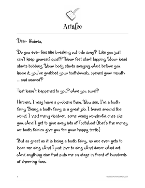 Letters from a tooth fairy tooth fairies are not supposed to wake a sleeping child so what happens when one spiritdancerdesigns Images