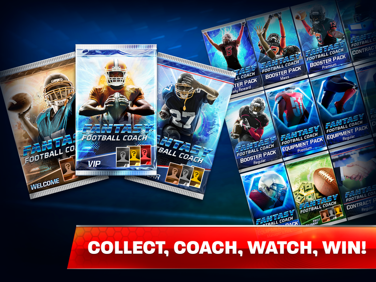 COLLECT, COACH, WATCH, WIN  Watch as the intense football action unfolds, where every play is key. Snag bonus cards to drive your team to victory.