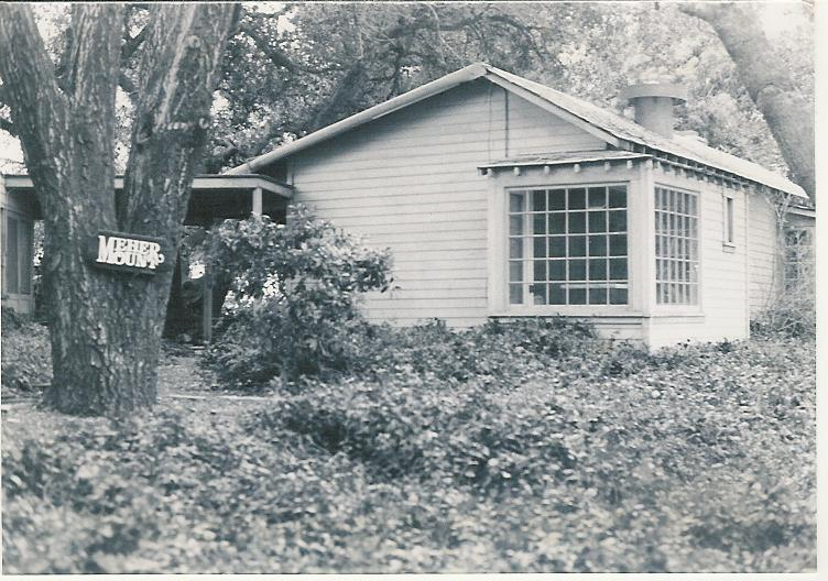 THE ORIGINAL GUEST HOUSE at Meher Mount in the 1940s. This was the building where Avatar Meher Baba greeted visitors during His visit on August 2, 1956. This house and all the other buildings on the property were destroyed in the 1985 New Life Fire. (Archive photo.)