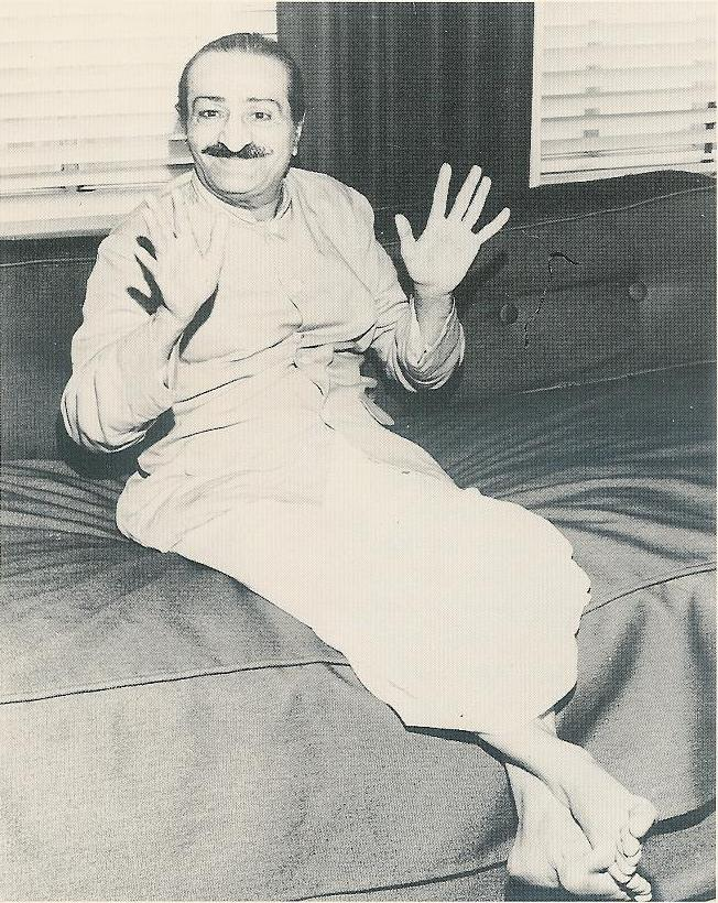 AVATAR MEHER BABA meets with the press in Los Angeles in 1956 just before His visit to Meher Mount. (Los Angeles Times photo on August 1, 1956.)