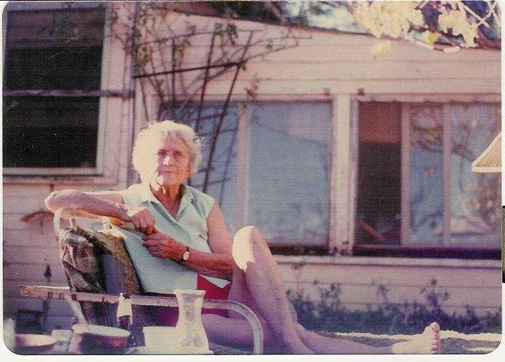 AGNES BARON in the late 1970s on a summer day sitting in front of the main house where she lived. (Sam Ervin photo, 1970s.)