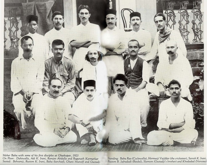 THE MANZIL-E-MEEM disciples with Avatar Meher Baba (center with a white headscarf) in 1923. (Source: Meher Baba Travels website.)