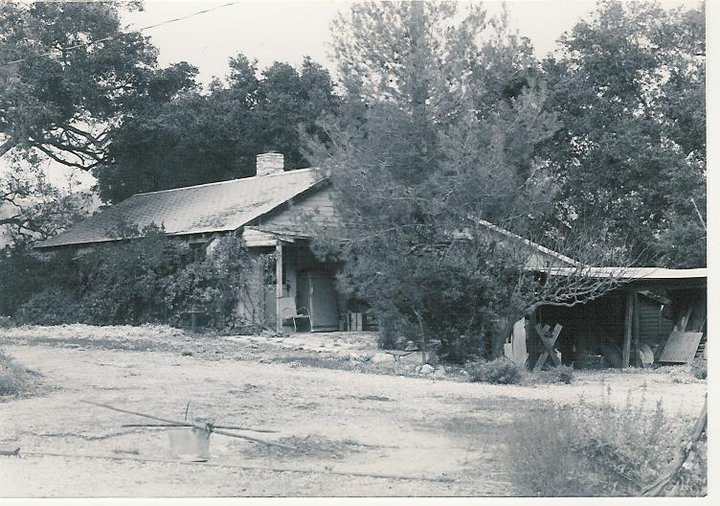 THE ORIGINAL FARMHOUSE AND WORKSHOP on the property. This is the site of the new Workshop completed in 2012. (Archive photo, possibly 1950s.)