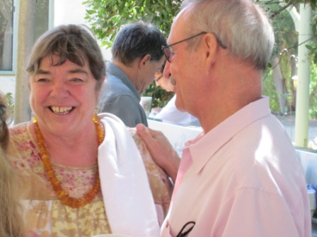 URSULA REINHART and Board President Sam Ervin at the 2010 Anniversary Celebration at Meher Mount when she was the guest speaker. (Wayne Myers photo, 2010.)