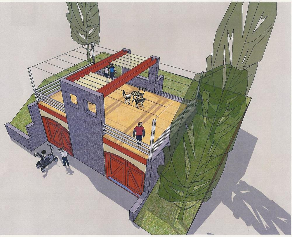 AN EARLY DRAWING of a workshop/garage with a roof-top patio. The concept was too expensive, but led to the idea of building a patio with views of the Topa Topa Bluffs. (Byron Pinckert conceptual drawing.)