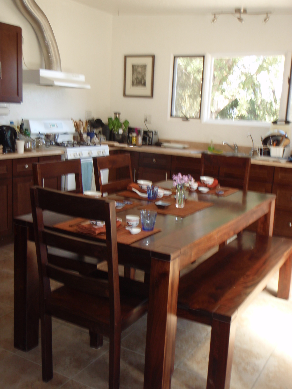 THE KITCHEN was upgraded with new cabinets and fixtures along with a dining table, chairs and bench. (Margaret Magnus photo, 2014.)