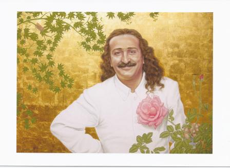 "The painting is ""Baba and Pink Rose"" by Tony Davis, part of the Sufism Reoriented Collection. The painting was reproduced on the thank you card Khaled Alfaqih sent to Meher Mount."