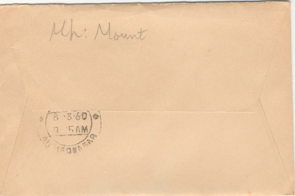 THE FRONT AND BACK of the envelope sent to Mehera Irani containing the six 1956 photographs of Meher Mount. (Source: Avatar Meher Baba Perpetual Public Charitable Trust Archives, 2014.)