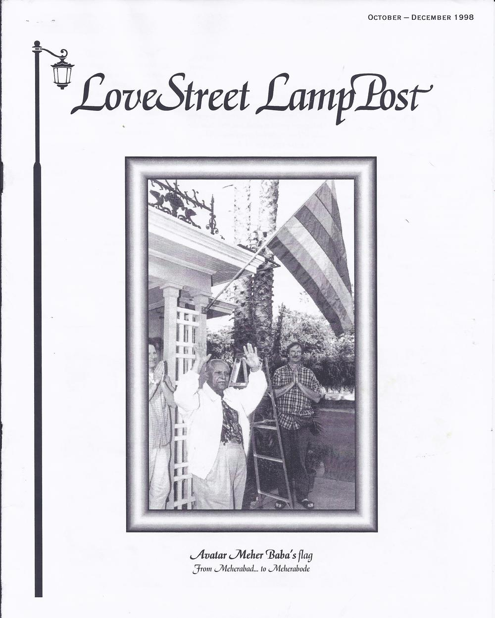 COVER OF THE LOVE STREET LAMP POST issue from which this article is reprinted. Meher Baba's disciple Bhau Kalchuri - who encouraged this Young Adult Sahavas - is pictured.