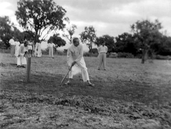 AVATAR MEHER BABA playing cricket - one of His favorite games.