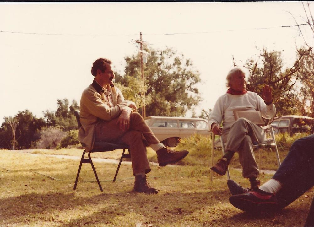 SAM ERVIN listening to Agnes Baron tell stories at Meher Mount, 1978. (Photo: Margaret Magnus)