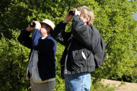 SAM ERVIN & ERIC TURK bird watching at Meher Mount. (Photo: Margaret Magnus, 2009)
