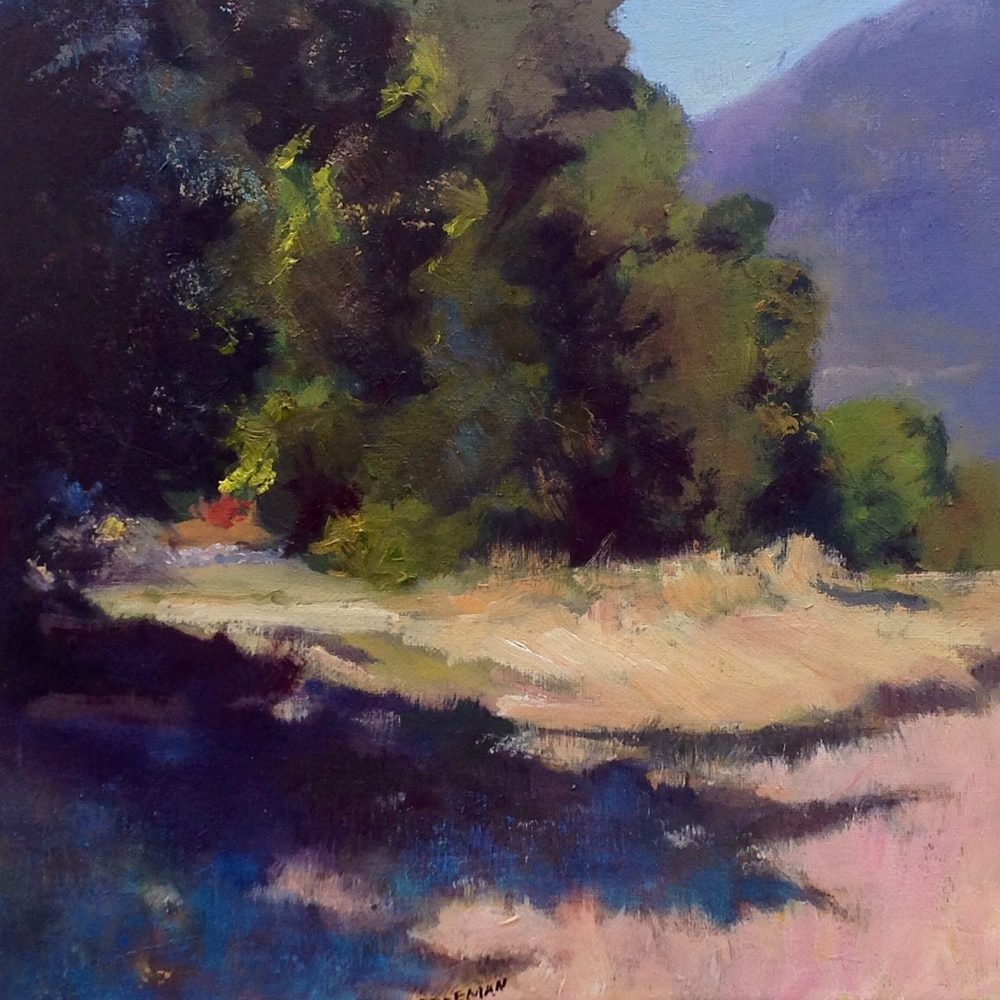 A SPOT AT MEHER MOUNT is the subject of this painting by Nancy Freeman, 2015.