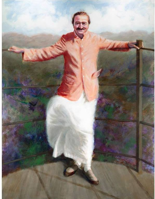 AVATAR MEHER BABA at Arthur's Seat in Mahabaleshwar, India. Painting by Charles Mills.