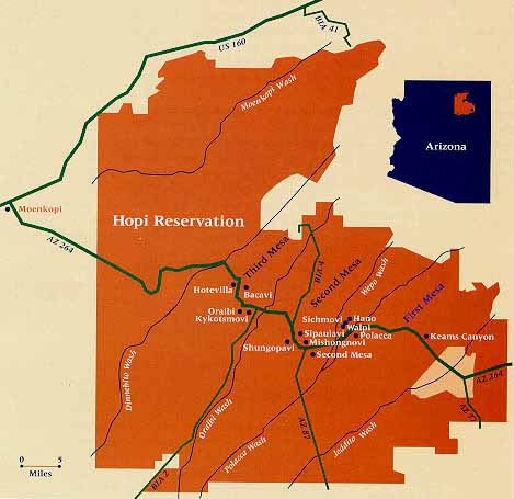 THE HOPI RESERVATION is approximately 1.5 million acres surrounded by the Navajo Reservation in northeastern Arizona. (Map:  Crystalinks .)