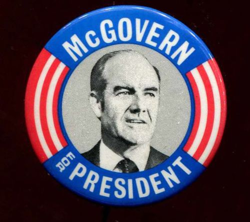 GEORGE MCGOVERN for President 1972 campaign button. (Source:  Terapeak .)