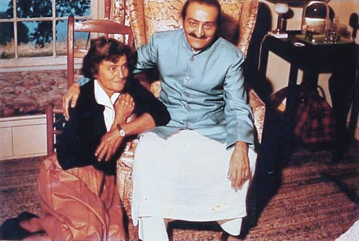 AVATAR MEHER BABA at Meher Mount on August 2, 1956, with Agnes Baron, co-founder and lifetime caretaker of Meher Mount.