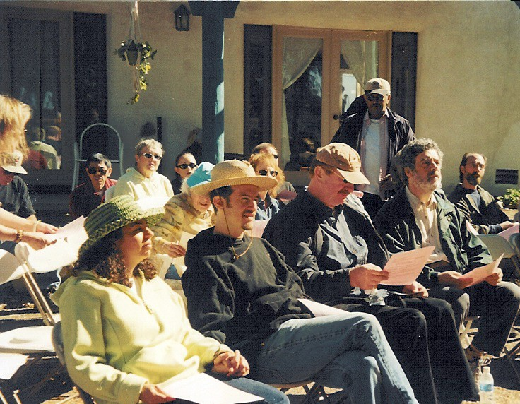 THE 2004 COMMUNITY MEETING kicks off the master planning process at Meher Mount. Pictured are: Payam Ajang Russ, Glenn Russ, Fred Stankus, Len Ceder (former Manager/Caretaker), Suhas Ginde, Kebi Brown, Missy Choi, Rose Choi and Kanji Miyao. (Photo. Sam Ervin, 2004)
