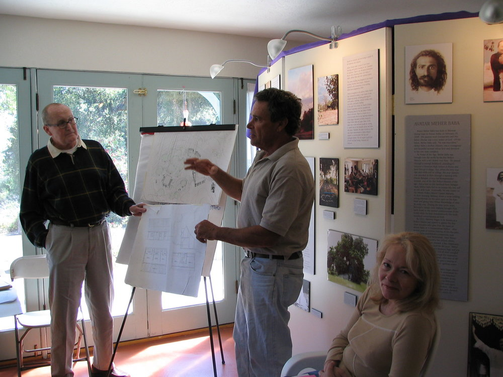THE ONGOING MASTER PLAN DISCUSSION. Pictured are (left to right): Tom Dortch (Volunteer Management Consultant); Jim Auster (Board Member); and Deborah Dortch (Volunteer Management Consultant). (Photo: Sam Ervin, 2004)