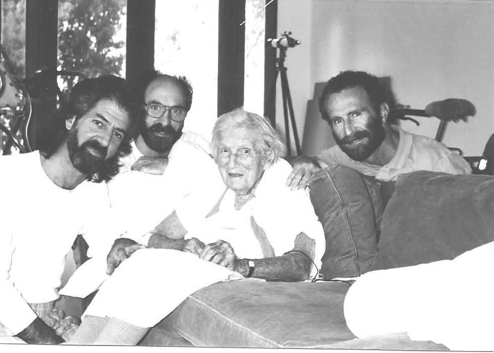 A CHERISHED PHOTOGRAPH with Agnes Baron (center) for caretakers (left to right) Ken Ceder, Len Ceder, and Tom Entwistle. (Photo: Peter Carni, early 1990s)