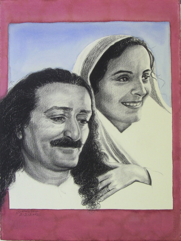 AVATAR MEHER BABA with His closest woman disciple, Mehera J. Irani. He said she was the purest soul in the universe. (Painting: Charcoal and Watercolor by Diana Le Page, 2013)