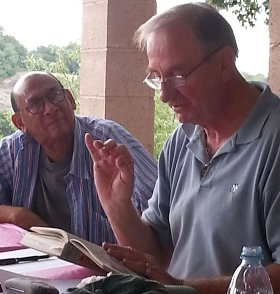FRED STANKUS reads a passage from  Lord Meher  with Marc Brutus. (Photo: Margaret Magnus, 2015.)