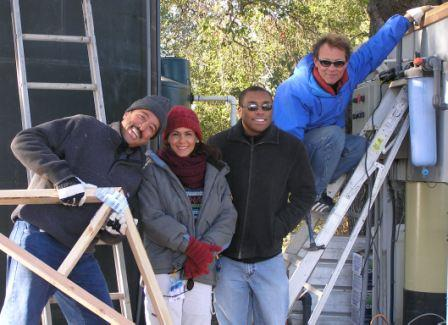 A COLD, FUN DAY IN JANUARY working on the water system with Jamshid Ebrahimzadeh, Ellie Azhang, Ron Holsey and Billy Goodrum. (Photo: Margaret Magnus, 2007)