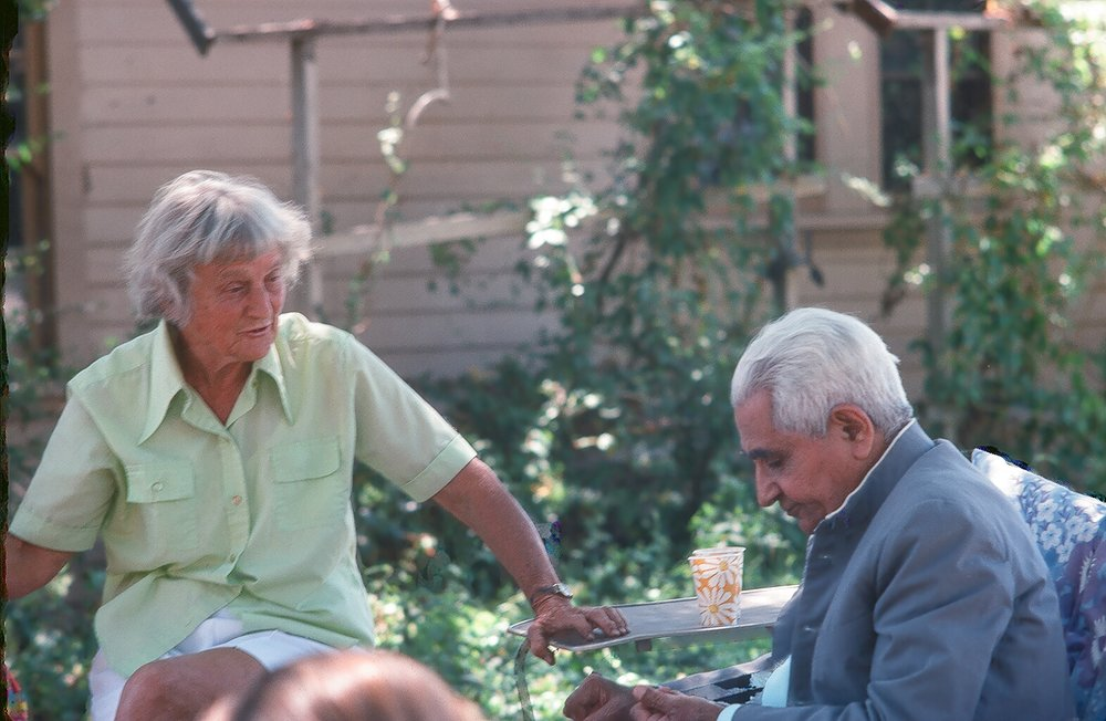 AGNES BARON & ADI K. IRANI at Meher Mount in 1977. (Photo: Sam Ervin)