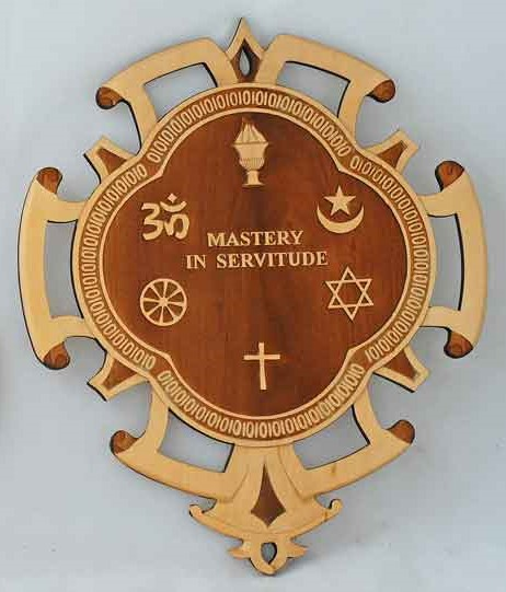 MASTERY IN SERVITUDE is Avatar Meher Baba's mandala which includes the symbols of the world's major religions. This plaque, produced by  Beloved Archives , is crafted by Thomas Golding and engraved by the Sisters of the Holy Trinity.
