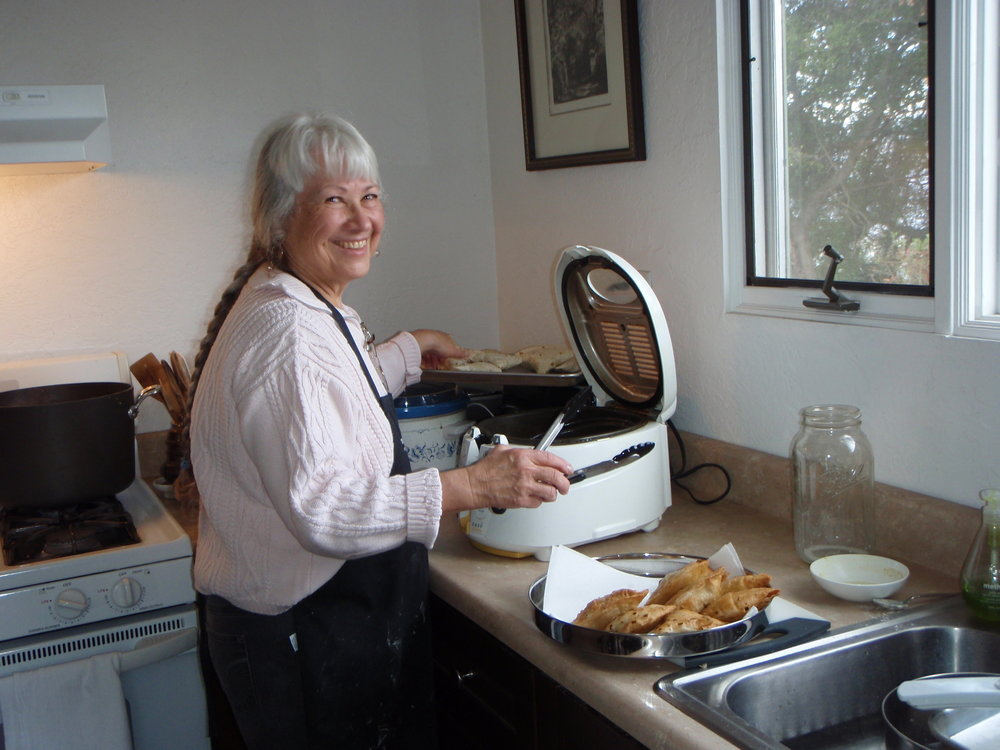MANAGER/CARETAKER GINGER GLASKY preparing a special treat for  Amartithi  2014 - her homemade Indian  samosas . (Photo: Buzz Glasky)