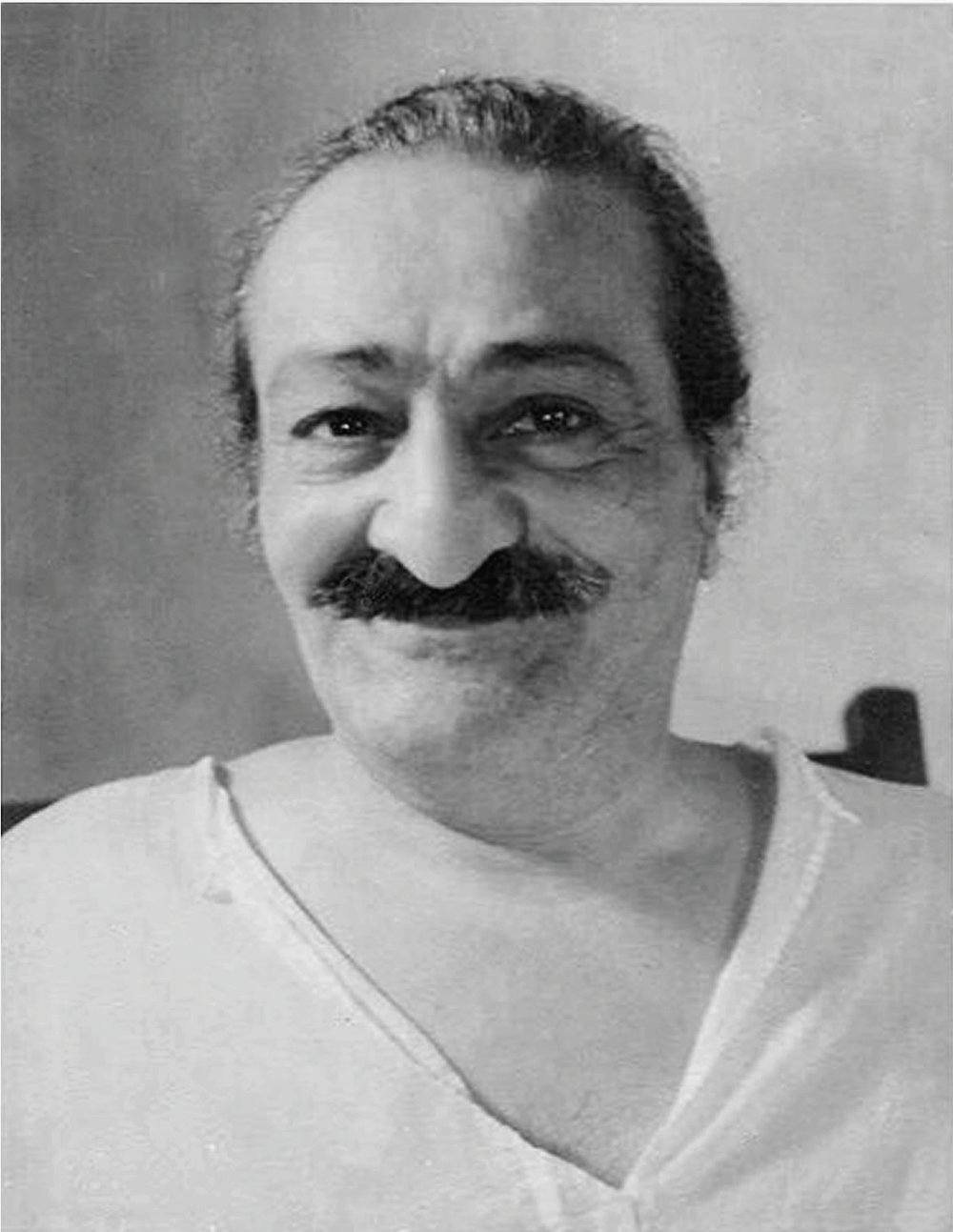 "AVATAR MEHER BABA in a photo that was similiar to the one over the fireplace where Sam Ervin lived in 1968 when he looked up and said, ""Okay, Baba, I give up. I'm hooked."""
