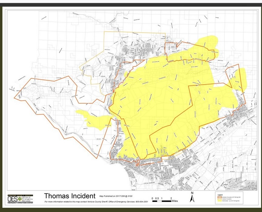 A VIEW OF THE LARGER THOMAS FIRE AREA also on Tuesday, December 5, 2017. Meher Mount is located near the top and to the right of the yellow-shaded area. The structures at the bottom of the map are in the cities of Ventura (left) and Santa Paula (right). The structures at the top of the map are in the cities of Ojai and Meiners Oaks.