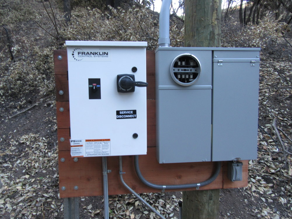NEW ELECTRICAL COMPONENTS at Meher Mount's well were waiting for a new meter and electrical connections from Southern California Edison. Power was fully restored to all of Meher Mount as of February 23, 2018 - almost three months after the December 4, 2017 Thomas Fire. (Photo: Sam Ervin, February 17, 2018)