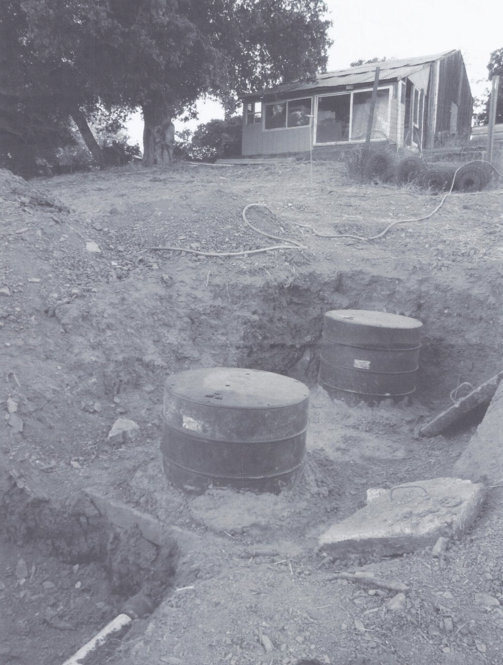 THE SEPTIC TANKS below the site where the new Workshop will be built. (Photo: Leslie Bridger)